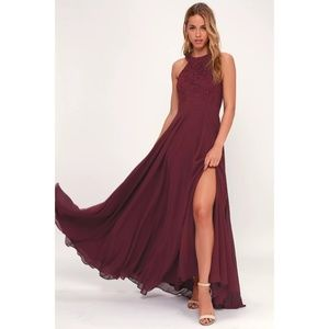 Picture Perfect Burgundy Lace Maxi LuLus Dress NWT